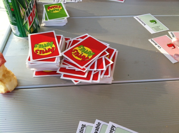 I introduced everyone to Egyptian Slapjack/ Ratscrew (which got slightly competitive!) and then we played some Apples to Apples.