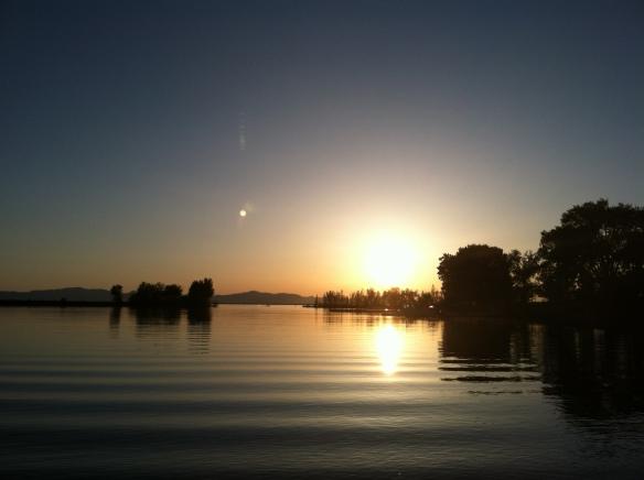Sunset at Willard Bay.