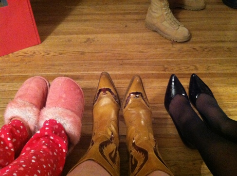 This is the shoe picture I took on purpose of Katie (Sleepover Barbie), Me (Western Barbie), and Karen (Classy 50s Barbie).