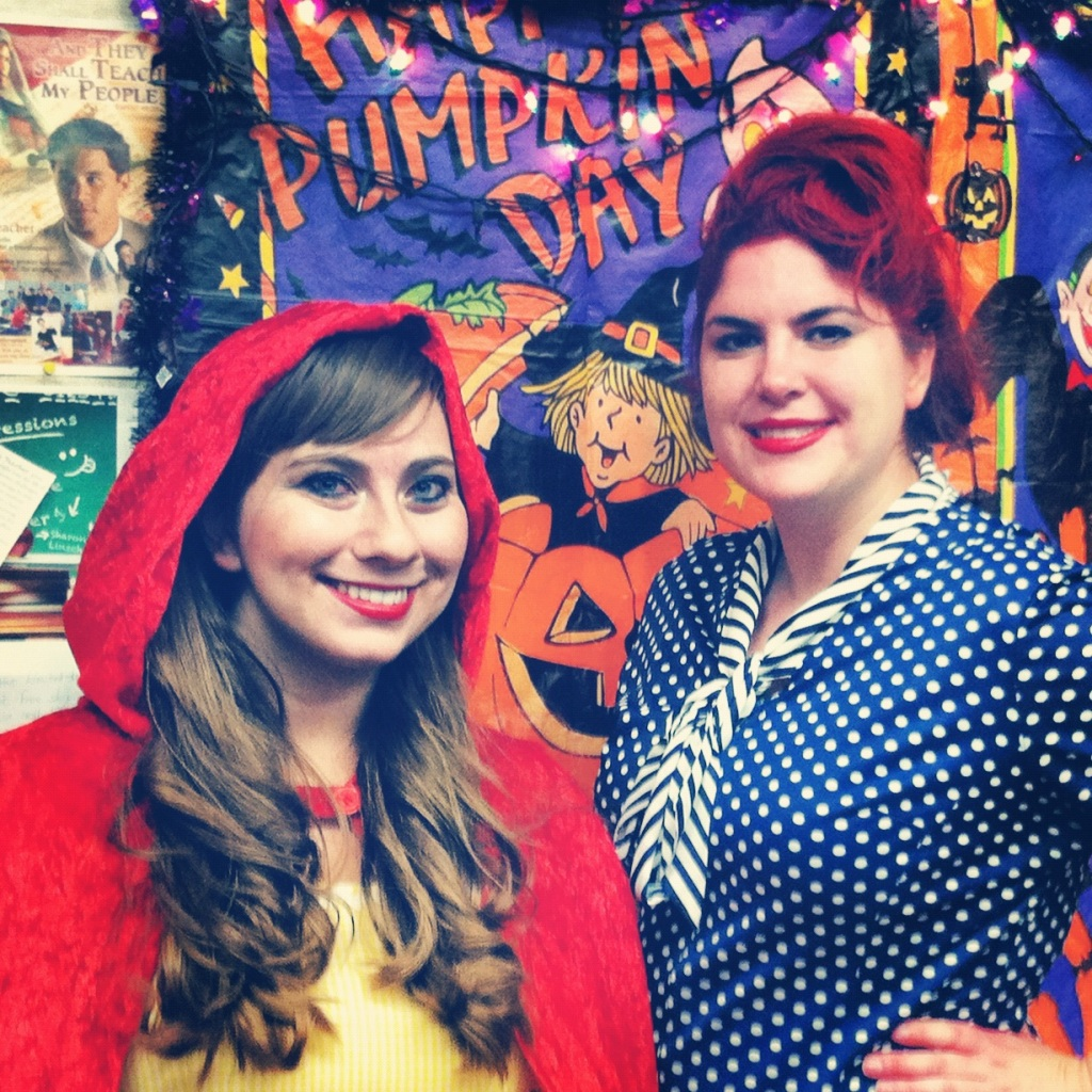 Emily as Red Riding Hood and Me as Lucille Ball in I Love Lucy