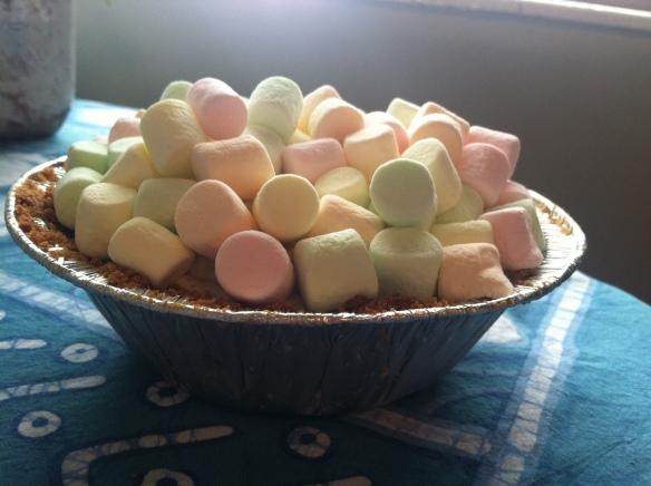 A tiny marshmallow mermaid pie.
