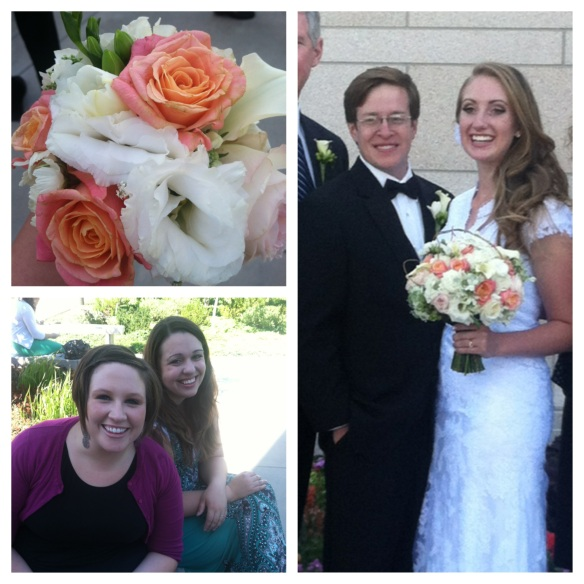 The beautiful couple, flower bouquet, and Karen and Meg!